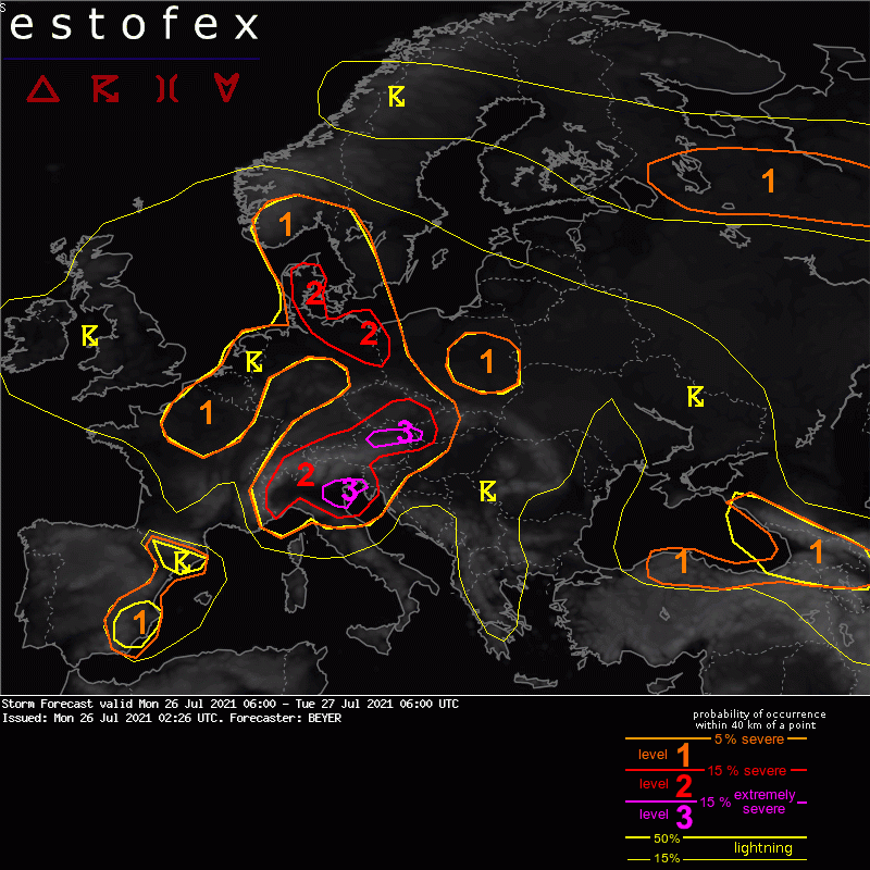Estofex Stormforecast - Mon 26 Jul 2021 06:00 to Tue 27 Jul 2021 06:00 UTCA level 3 was issued along the northern Alpine rim in Austria mainly for (very) large hail, (extreme) severe wind gusts, and excessive precipitation.Quelle: https://estofex.org
